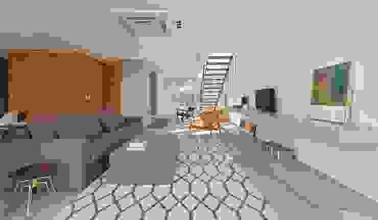 VISTA INTERNA DAS SALAS DE ESTAR E LAREIRA Salas de estar modernas por Pimont Arquitetura Moderno
