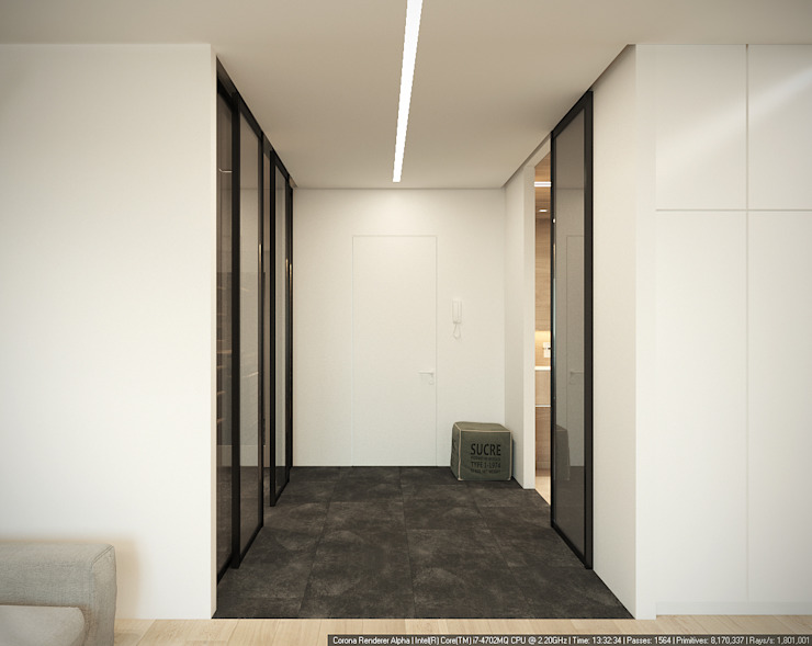 Квартира-студия для холостяка <q>Серый туман</q> Коридор, прихожая и лестница в стиле минимализм от ECOForma Минимализм