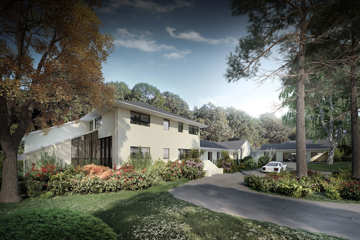 3d architectural visualisation Monachus development project in London by RedWhite Country style houses by REDWHITE CA Country