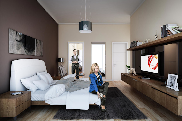 3d architectural interior visualisation for Cendere project in İstanbul, Turkey by RedWhite Modern style bedroom by REDWHITE CA Modern