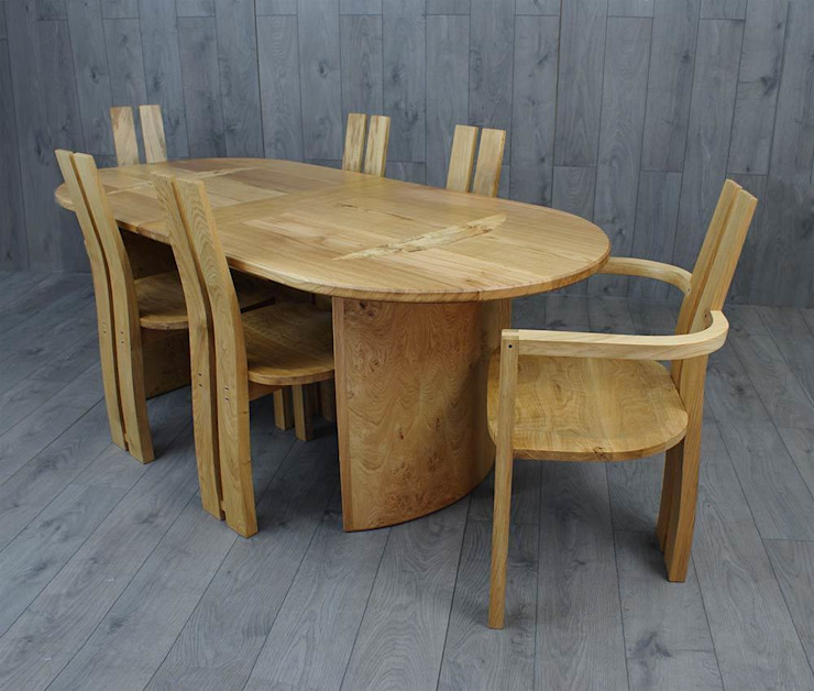 Prideaux extending oak dining table and eight chairs : modern  by Lee Sinclair Furniture, Modern
