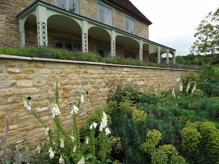 Somerset Farmhouse - Front terrace looking up Country style balcony, veranda & terrace by Laurence Maunder Garden Design & Consultancy Country