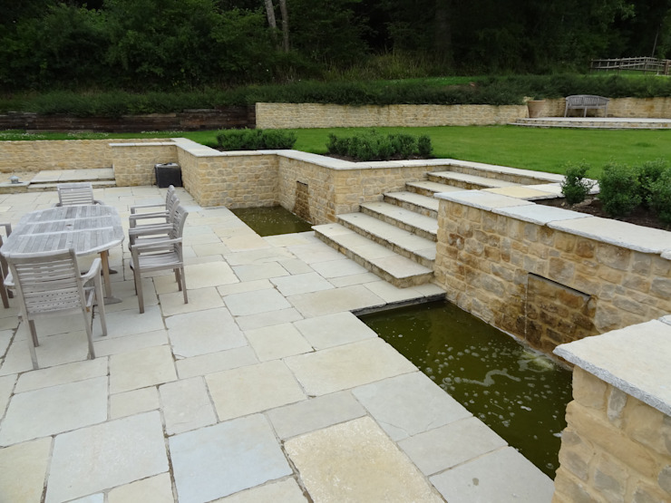 Somerset Farmhouse - Rear terrace and water features Country style balcony, veranda & terrace by Laurence Maunder Garden Design & Consultancy Country