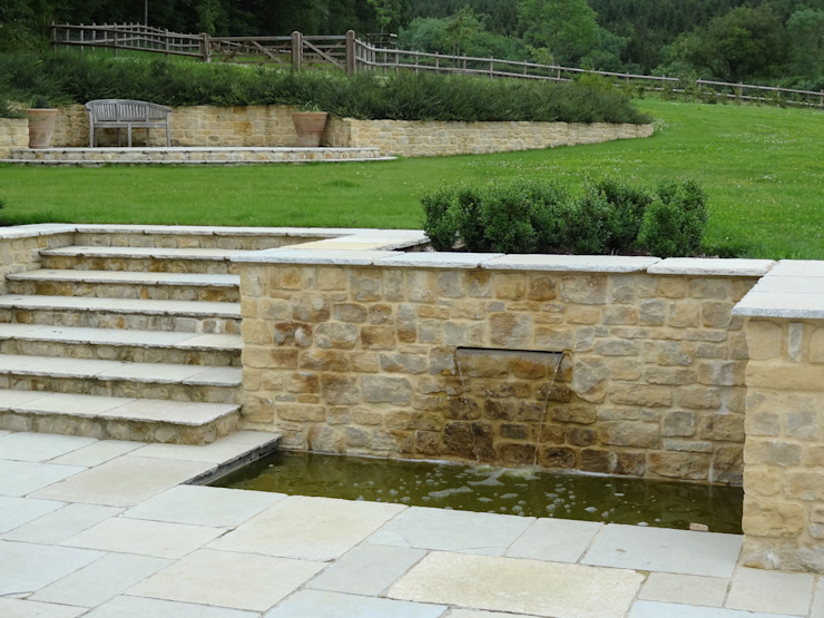 Somerset Farmhouse - Rear terrace water feature Country style balcony, veranda & terrace by Laurence Maunder Garden Design & Consultancy Country