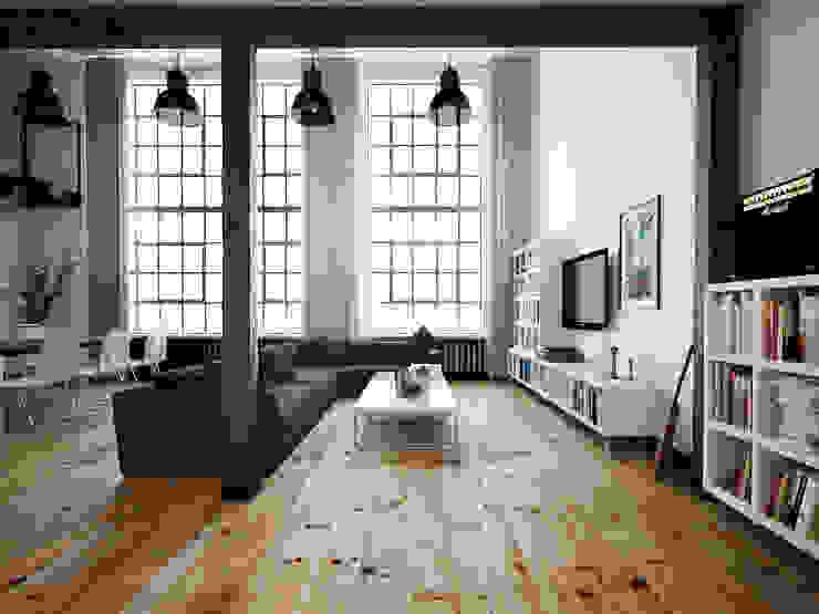 ofdesign Oskar Firek Loft Apartment salon Minimalistyczny salon od OFD architects Minimalistyczny