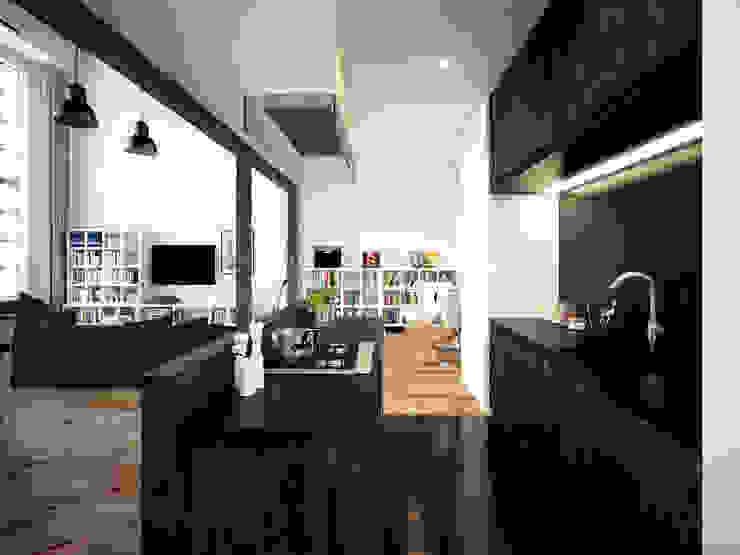 ofdesign Oskar Firek Loft Apartment kuchnia Minimalistyczna kuchnia od OFD architects Minimalistyczny