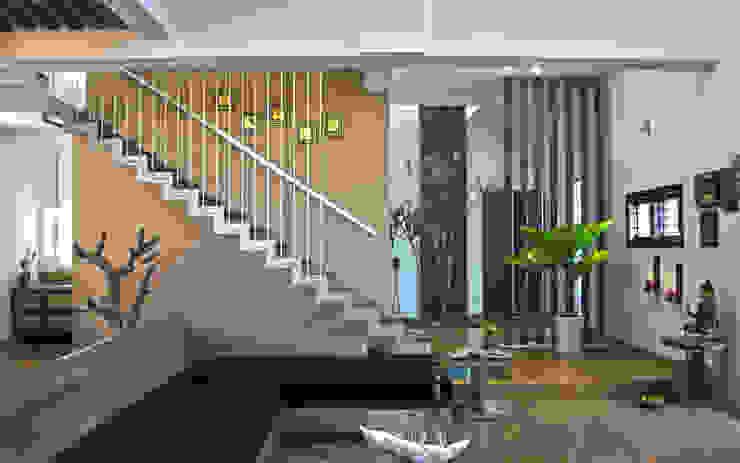 Mr.RAMKUMAR RESIDENCE , UTTRAHALLI, BANGALORE Modern living room by perspective architects Modern