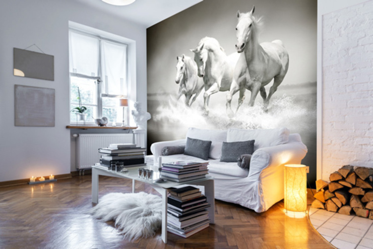 Horses Black & White Country style walls & floors by Wallsauce.com Country