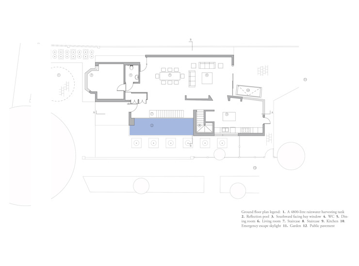 Ground floor plan de MZO TARR Architects Moderno
