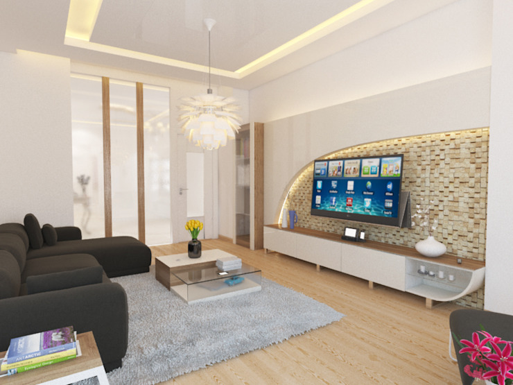 Living room by İNDEKSA Mimarlık İç Mimarlık İnşaat Taahüt Ltd.Şti., Modern