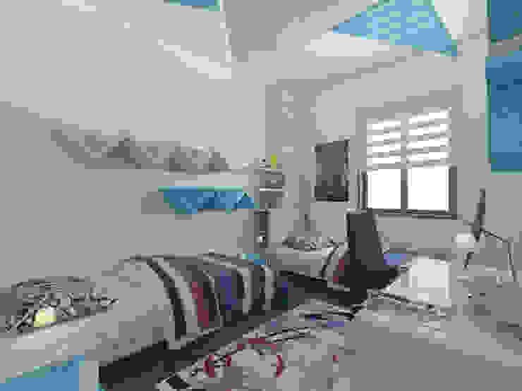 Camera da letto moderna di İNDEKSA Mimarlık İç Mimarlık İnşaat Taahüt Ltd.Şti. Moderno