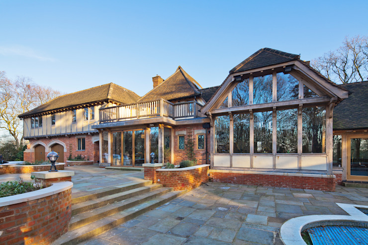 Exterior shot of traditional home by Welsh Oak Frame