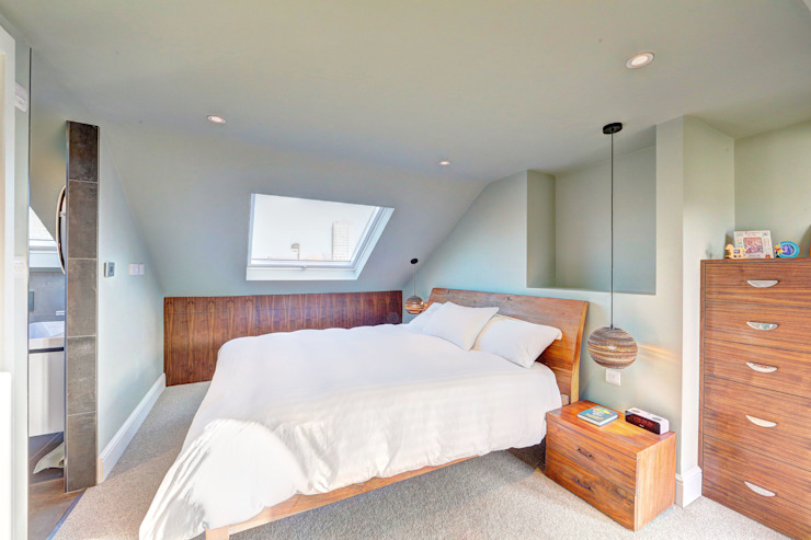 ​l-shaped dormer loft conversion wandsworth Modern style bedroom by homify Modern