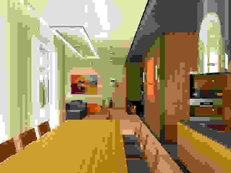 Дом в пос. Охта-Парк Столовая комната в стиле минимализм от oneione Минимализм