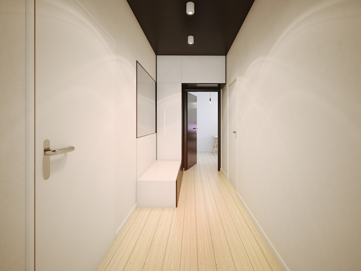 ofdesign Oskar Firek wilga apartment Kraków hall Minimalistyczny korytarz, przedpokój i schody od OFD architects Minimalistyczny