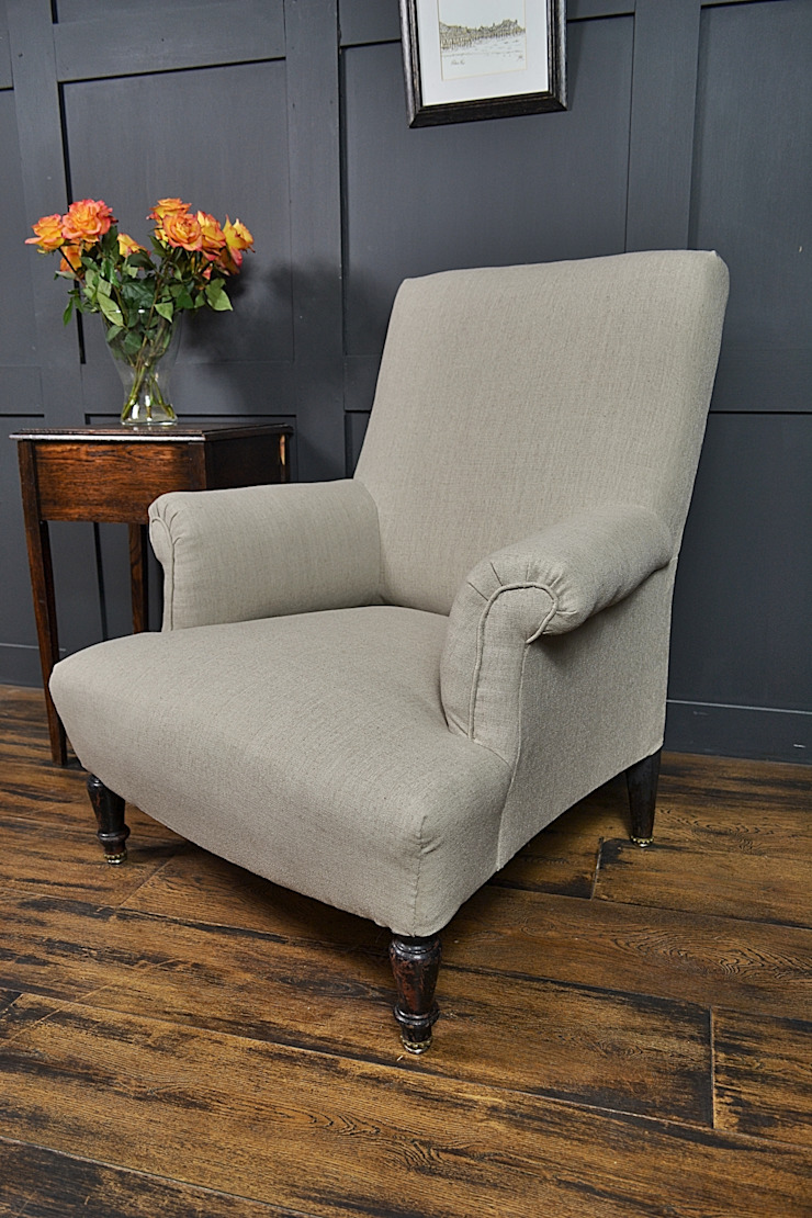 Small French Calico Square Antique Armchair: classic  by The Treasure Trove Shabby Chic & Vintage Furniture, Classic