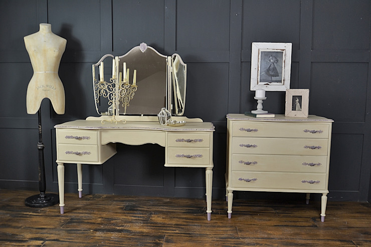 Cream French Louis Dressing Table:  Bedroom by The Treasure Trove Shabby Chic & Vintage Furniture
