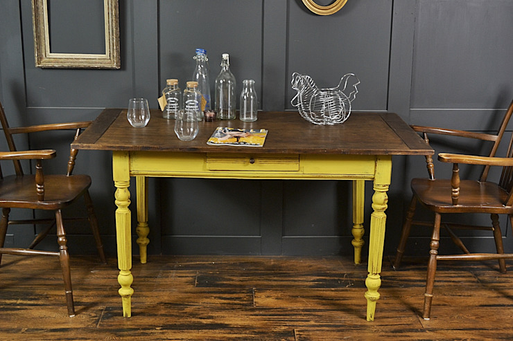 Reclaimed Top Shabby Chic Yellow Dining/Side Table The Treasure Trove Shabby Chic & Vintage Furniture ComedorMesas
