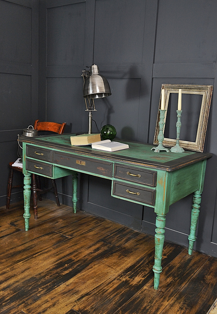 Black & Green Victorian 5 Drawer Desk : rustic  by The Treasure Trove Shabby Chic & Vintage Furniture, Rustic