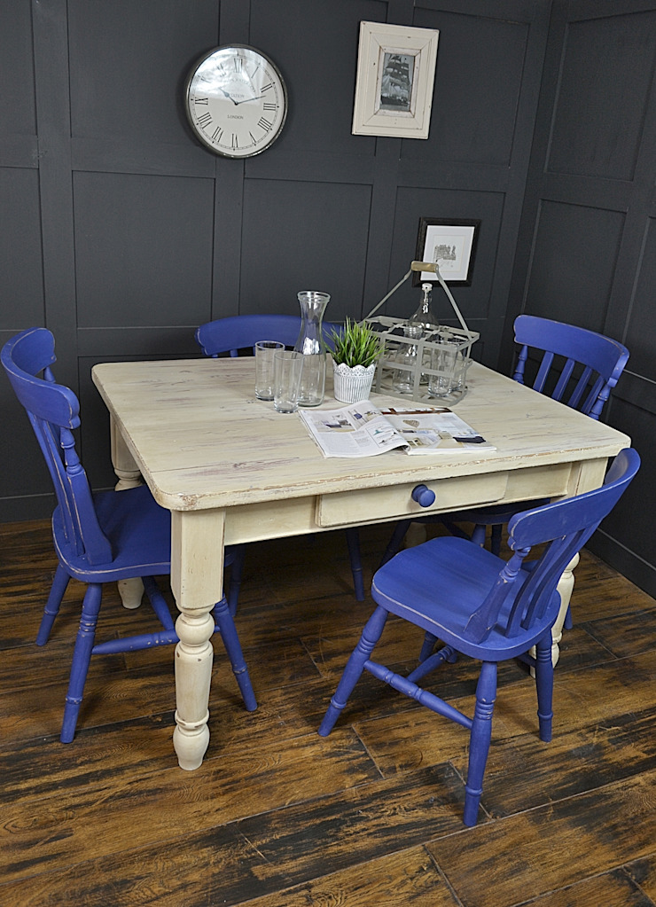 Blue & White Farmhouse Dining Set : country  by The Treasure Trove Shabby Chic & Vintage Furniture, Country