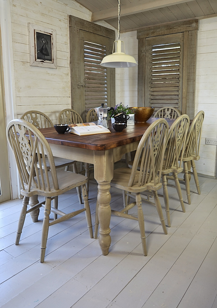Rustic Shabby Chic Dining Table with 8 Wheelback Chairs: country  by The Treasure Trove Shabby Chic & Vintage Furniture, Country