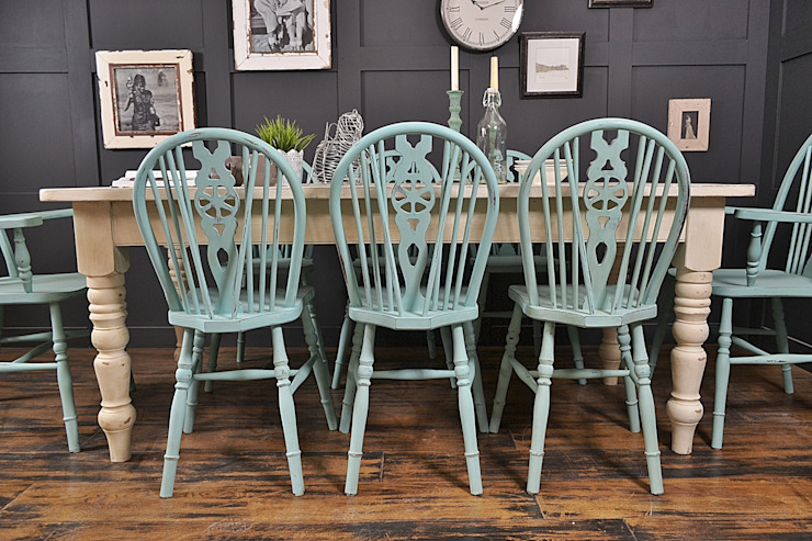 Large Double Drawer, Shabby Chic 8 Seater Farmhouse Dining Set: country  by The Treasure Trove Shabby Chic & Vintage Furniture, Country
