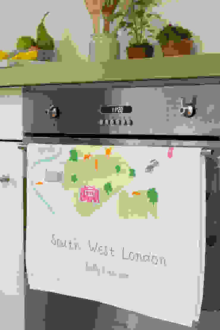 South West London - Screenprinted Tea Towel: modern  by Holly Francesca, Modern