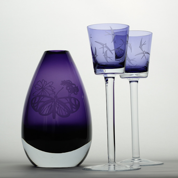Purple Buttefly Vase & Blue Swallow Candle Sticks: eclectic  by Sara Newman Design, Eclectic