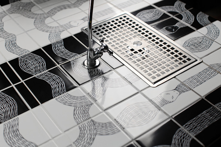 Ouroboros Tile installation at Canada Water Cafe, London Modern gastronomy by Peter Ibruegger Studio Modern
