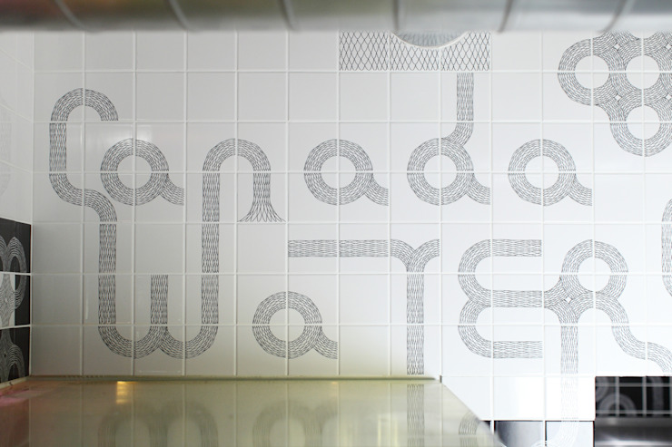 Ouroboros Tile installation at Canada Water Cafe, London Eclectic style gastronomy by Peter Ibruegger Studio Eclectic