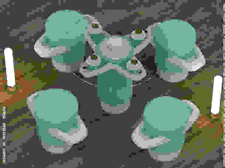 Petals in tint aquamarine -coffee table + stool: modern  by Preetham  Interior Designer,Modern