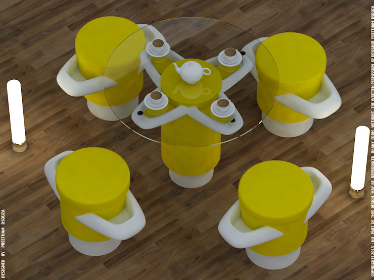 Petals in shade yellow - coffee table + stools: modern  by Preetham  Interior Designer,Modern