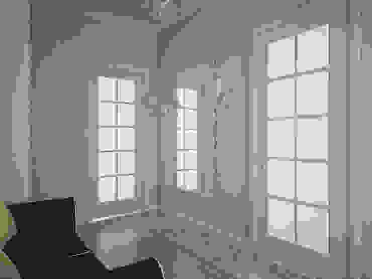 Couloir, entrée, escaliers modernes par Универсальная история Moderne