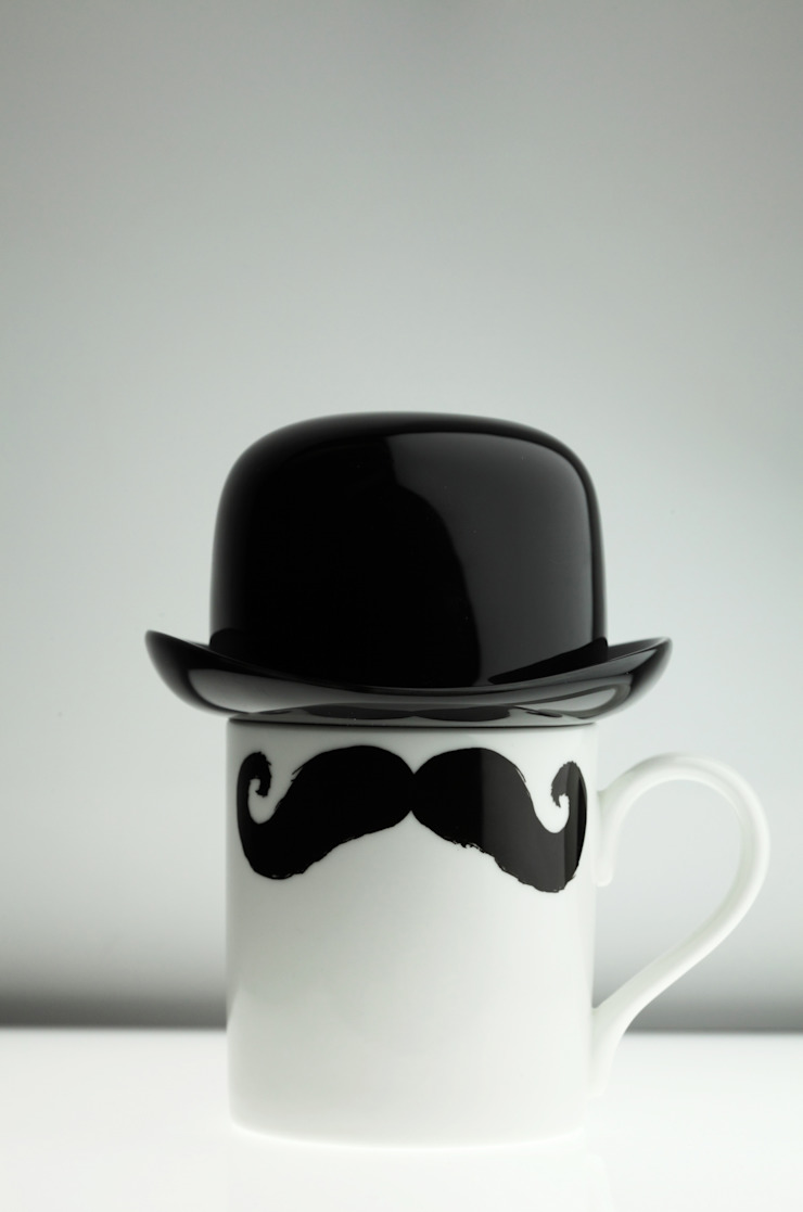 Original Moustache Mug and Bowler Hat Set - Maurice Poirot Eclectic style kitchen by Peter Ibruegger Studio Eclectic