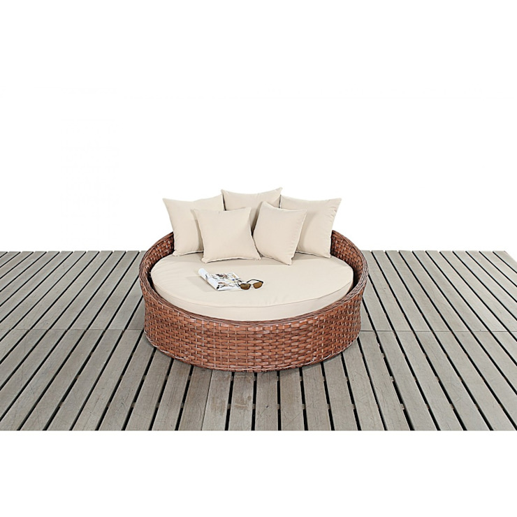 Bonsoni Small Daybed - Colour: Brown - Includes a Circular Bed With a Thick Base Cushion and Matching Scatter Cushions For added Comfort Rattan Garden Furniture de Bonsoni.com Clásico