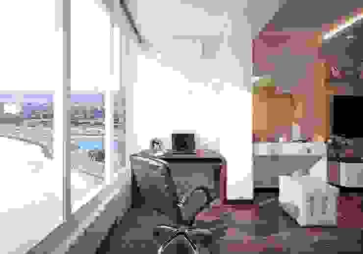 Дизайн спальни в современном стиле Балкон и терраса в стиле модерн от Студия интерьерного дизайна happy.design Модерн