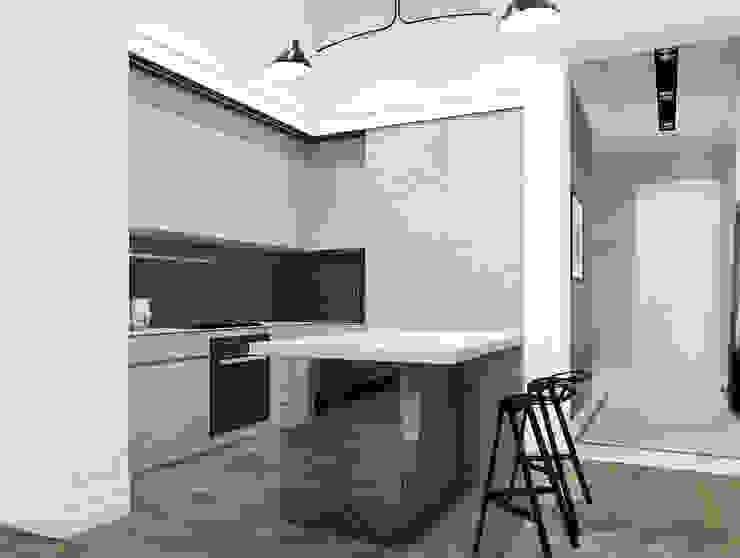 Дизайн-проект квартира Остоженка Кухня в стиле минимализм от Projecto2 Минимализм