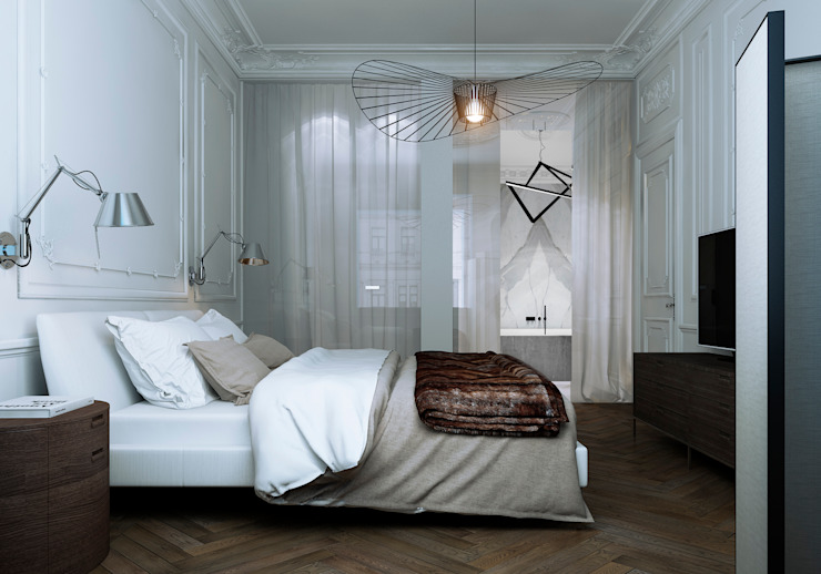 Дизайн-проект квартира Остоженка Спальня в стиле минимализм от Projecto2 Минимализм