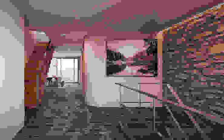 von Mann Architektur GmbH Rustic style corridor, hallway & stairs