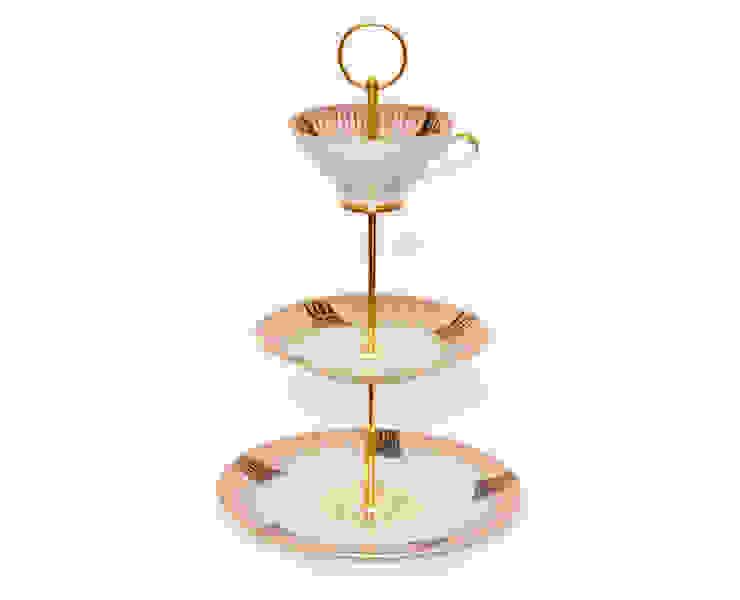 Lieselotte Etagere aus Vintage Sammeltasse rosa-gold-schwarz Lieselotte EsszimmerAccessoires und Dekoration