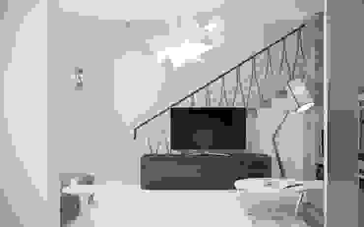 现代客厅設計點子、靈感 & 圖片 根據 White & Black Design Studio 現代風