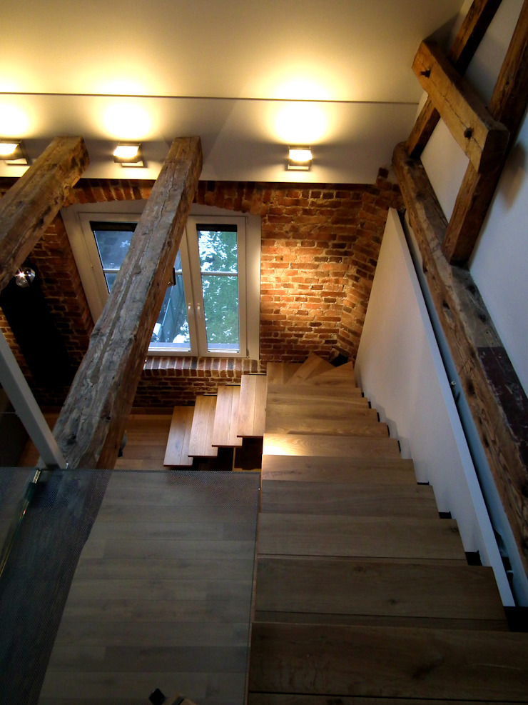 Mieszkanie Katowice Nowoczesny korytarz, przedpokój i schody od LMarchitekt Nowoczesny