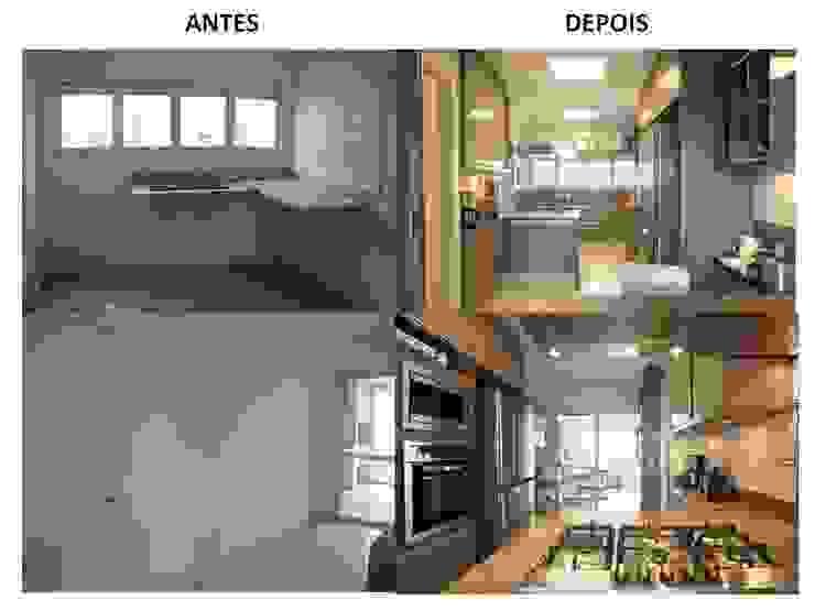 Cozinha Antes e Depois por Pereira Reade Interiores