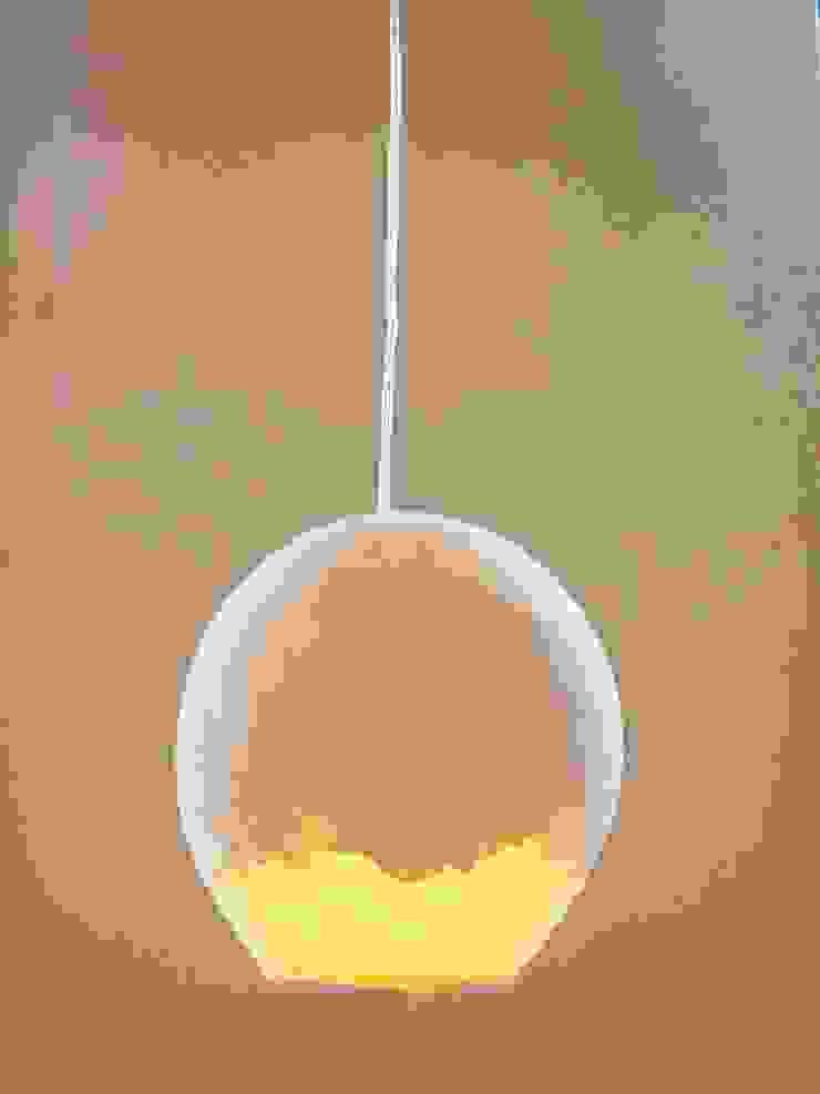 Type FP-II 25 cm, vilten bol met papierpulp op het vilt aangebracht- licht aan van Vilt aan Zee Scandinavisch