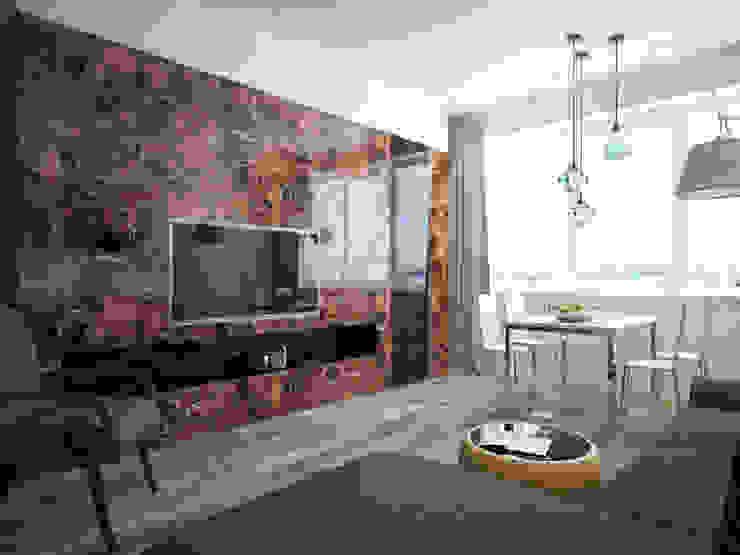 Дизайн квартиры в ярких оттенках Гостиная в стиле модерн от White & Black Design Studio Модерн