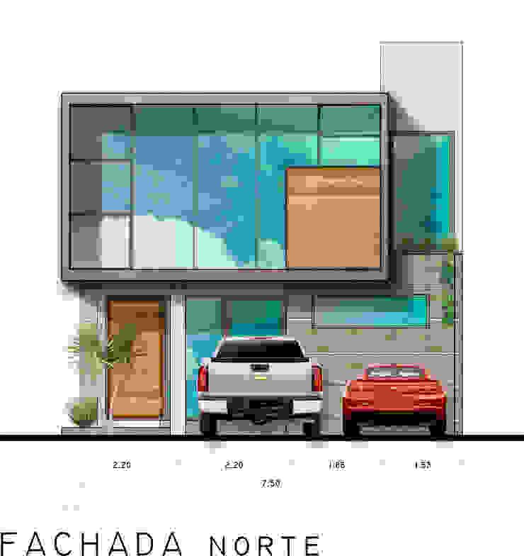 FACHADA NORTE Casas modernas: Ideas, imágenes y decoración de RAFAEL GUZMAN MADRID TALLER DE ARQUITECTURA Moderno