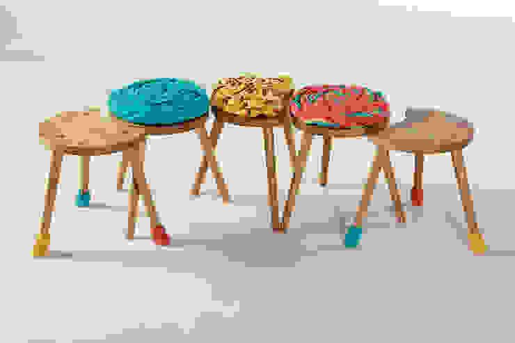 Family of Upholstered Milking Stools : rustic  by Jane Crisp Bespoke Designer Maker, Rustic