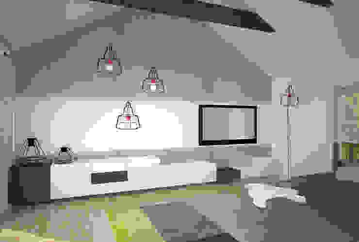 Dom w Łodzi - salon z kuchnią - nowoczesność z elementami skandynawskimi Skandynawski salon od Kameleon - Kreatywne Studio Projektowania Wnętrz Skandynawski
