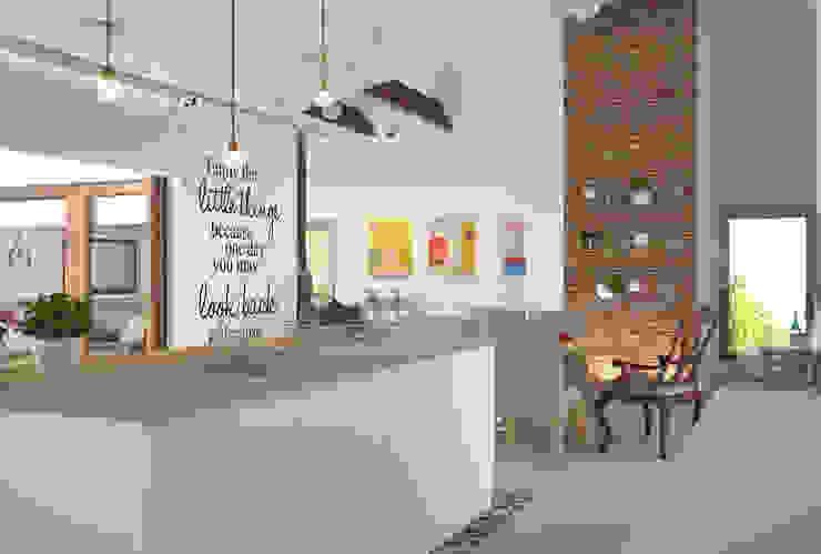 Dom w Łodzi - salon z kuchnią - nowoczesność z elementami skandynawskimi Skandynawska kuchnia od Kameleon - Kreatywne Studio Projektowania Wnętrz Skandynawski