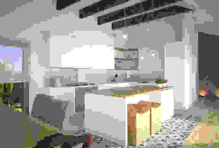 Dom w Łodzi - salon z kuchnią - nowoczesność z elementami skandynawskimi Kameleon - Kreatywne Studio Projektowania Wnętrz Skandynawska kuchnia